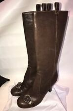 Dior Gaucho Size 40 Knee High Brown Leather Boots Logo Charms Buckle 9.5 Or 10