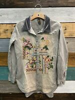 Aratta Silent Journey Embroidered Floral Buttondown Long Sleeve Blouse Size Sm