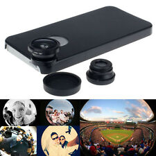 3in1 Fish Eye+Wide Angle+Macro Camera Lens +Back Case Kit For iPhone 5 5S Pop