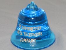 Vintage BELL Telephone Southwestern Co. Cobalt Blue Glass Paperweight #12 RARE