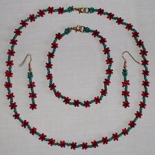 Mini Poppy Beaded Necklace/Bracelet/Earrings Charity Jewellery Set