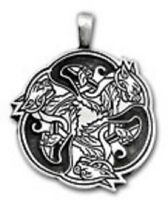 Irish Pewter Three Celtic Dogs Pendant with Full Length Adjustable Black Cord