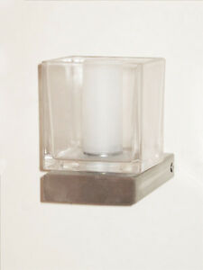 Christopher Wray wall bracket in satin nickel finish with clear glass shade