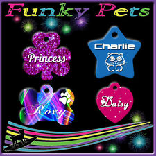 Funky Pet ID Tag Dog Kitten Puppy Cat Name Tags Personalised BUY 2 get 3rd FREE!