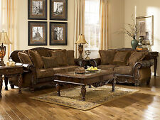Traditional Living Room Wood Trim Brown Fabric Sofa Couch Loveseat