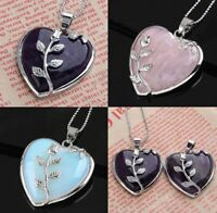 Women Heart Healing Mineral Gemstone Pendant Chakra Reiki Necklace Jewelry Gift
