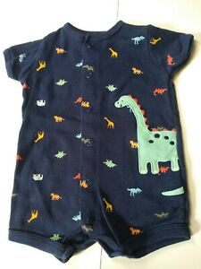 Carter's Boys Size 3 Mo Navy Blue Dinosaur Summer Snap Up Crawler Romper 1 Pc