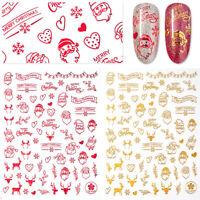2 Sheet Christmas 3D Nail Art Stickers Snowflakes & Cute Snowmen Nail Decals DIY