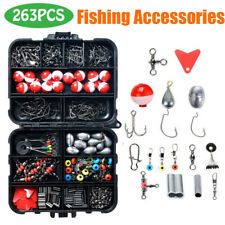 263Pcs Fishing Accessories Kit Fish set with Tackle Box Pliers Jig Hooks Swivels