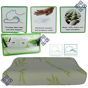30cm x 50cm Bamboo Contour Memory Foam Orthopedic Pillow Head Neck Pain Support