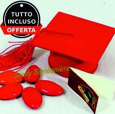 tocco cappello bomboniere laurea bigliettino+confetti rossi velluto portaconfett
