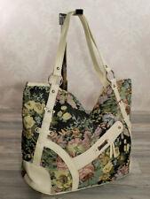 Ital. fashion Blumen Damen Schulter Tasche Shopper Echt Leder Stoff Beige X31B