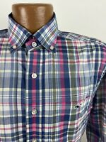 Vineyard Vines Plaid Classic Fit Tucker Shirt Men's Small Blue Pink Long Sleeve
