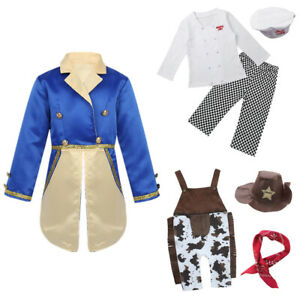 Kids Baby Boys Cook Costume Outfits Cowboy/Prince Fancy Dress Carnival Party Set