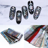 50 Pcs/Set Holographic Nail Foils Flower Nail Art Transfer Stickers Decor Design