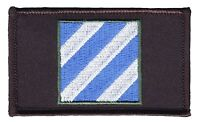 "3rd Infantry Division 2"" x 3"" Hook & Loop 2 Piece Black Patch EC73440 Licensed"