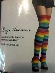 Rainbow striped thigh high premium spandex stockings LEG AVENUE Halloween NEW