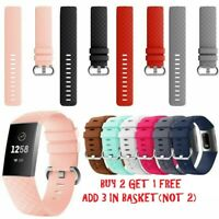 For Fitbit Charge 3 Replacement Silicone Sports Wrist Band Straps Bracelet L / S