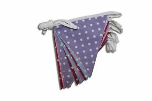 100% Cotton Bunting - Polka Dot-Lilac/Pink/Red/Blue - 10m/33 Double Sided Flags