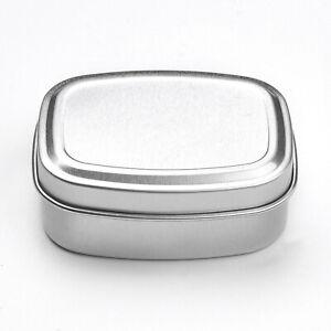 Small Silver Aluminium Metal Tin Case Trinket Pill Box Tablet Holder *SECONDS*