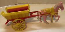 Vintage Remco Doll 5� Tall Pink Plastic Horse & Buggy Cart