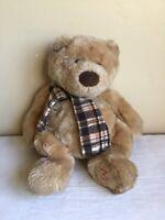 "Hug Me Gund Brown Teddy Bear Fall Plaid Scarf Plush Stuffed Animal Toy 15"" Tall"