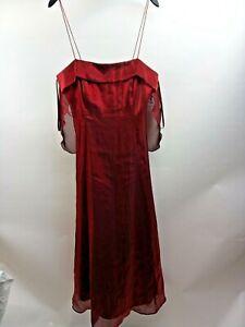 C957 Debut Burgandy Bridesmaid Wedding Dress with Lining and Netting Size UK 14