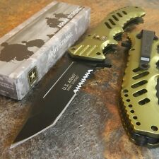 US ARMY Spring Assisted SERRATED TACTICAL MILITARY Folding TANTO GREEN Knife NEW