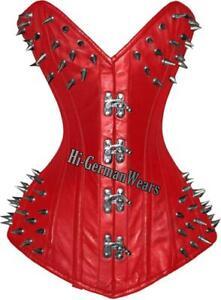 Full-Breast Black Red Leather Corset Gothic Overbust Claps Closure Hi-014