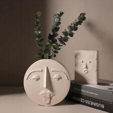 Nordic Creative Ceramic Head Vase Flower Arrangement Face Pot Planter Home Decor