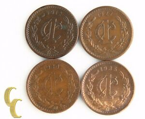 1912-1935 Mo Mexico 1 Centavo Lot (AU-UNC, 4 coins) Un One 1c Mexican KM-415