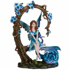 Fairy Playing With Blue Dragon Swing Figurine Fairyland Legends Faerie Statue