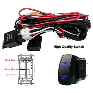 LED Light Bar Fog Light Wiring Harness Kit 12V 40Amp Fuse Relay ON/OFF Switch