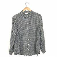 J. Jill Love Linen Women's L Plaid Button Up Shirt Black White 100% Linen Top B1