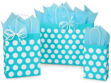 125 Turquoise Polka Dots Paper Shopping Gift Bags 3 Assort sizes Easter Holiday