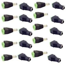20pcs Male+Female DC Power Jack Connector Adapter Plug 2.1 x 5.5mm for CCTV New