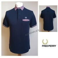 """FRED PERRY Polo Shirt Slim Fit (M) Gingam Trim *EXCELLENT COND* Pit-Pit 19"""""""