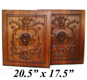 Antique Victorian Carved Walnut Furniture or Cabinet Door Panel PAIR, Lion Heads