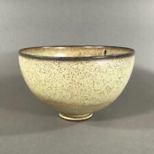 EDWIN & MARY SCHEIER Studio Pottery Bowl w/ Matte Speckled Tan Glaze, Brown Rim