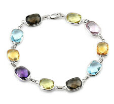 14K White Gold Bracelet With Multi-Colored Cushion Cut Gemstones 7.5 Inches