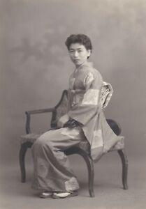 OLD PHOTO PRETTY WOMAN GLAMOUR KIMONO ASIA JAPAN JAPANESE NAGOYA W6