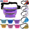 Women Men Iridescent Holographic Fanny Pack Shiny Waist Bag Hip Purse Travel Bag