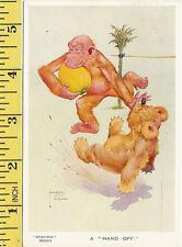 """""""Gran-pop"""" Series, Valentine & Son """"hand off"""" vintage rugby postcard"""