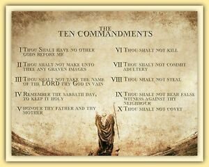 THE 10 COMMANDMENTS THOU SHALT - CHRISTIAN RELIGIOUS GOD MOSES METAL PLAQUE R3