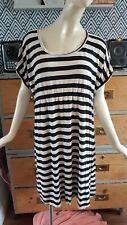 MASAI SIZE L 14 16 18 STRETCH JERSEY MIDI  STRIPED DRESS  BLACK CREAM LAGENLOOK