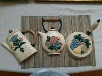 VINTAGE HOME INTERIORS KITCHEN WALL PLAQUES DECOR SET OF 3 - WHITE