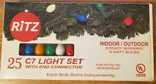 Christmas Lights C7 Painted Multi Bulb Green Wire Indoor Outdoor 25ct 07250 724