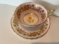 Paragon Tea Cup and Saucer Set Pale Pink Gold Gilt with Orange Flower