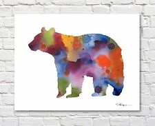 Brown Bear Abstract Watercolor Painting 11 x 14 Art Print by Artist DJ Rogers