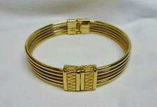 Lovely Gold,Silver & Rose Tri-Color Bangle Bracelet With A Hinge To Open Clasp.